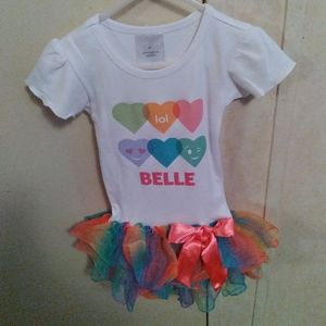 """""""Belle"""" Girls Shirt (3T)with Attached Rainbow Tutu"""